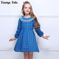 Kseniya Kids Autumn Winter Children Baby Girl Blue Plaid England Preppy Cute Casual Cotton Dress Long