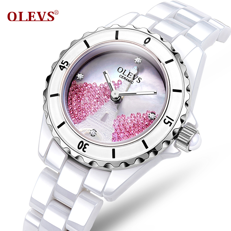 OLEVS Luminous Needle Wrist Watch Eiffel Tower Rotatable Bezel Ladies Ceramic Watchband Dial Quartz Waterproof Women Watches 29 skone 5051 luminous pointers quartz watch men rotatable bezel wristwatch