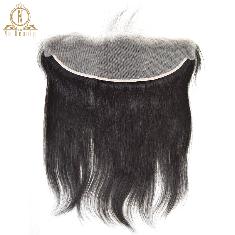 Straight Transparent Lace Frontal 13X4 Ear To Ear Free Part Remy Brazilian Human Hair Clear Lace Closure Natural Color 10-20 In(China)