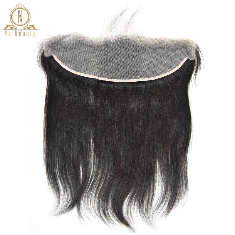 A orelha transparente reta do frontal 13x4 do laço à orelha livra a parte remy brasileiro do cabelo humano o fechamento claro do laço cor natural 10-20 dentro
