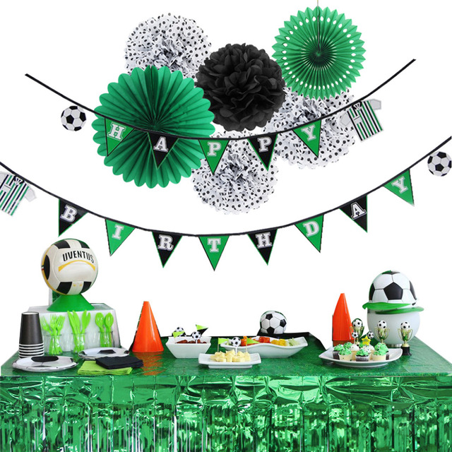 7pc Soccer Theme Birthday Party Decoration Set Happy Banner Sports Football Boy Baby Shower 1st Supplies