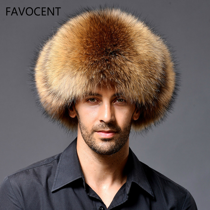 Russian Leather Bomber Hat Men Winter Hats With Earmuffs Trapper Earflap Cap Man Natural Raccoon Warm Thick Fox Fur Black New