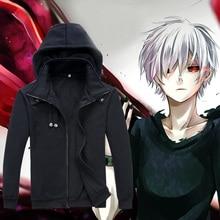 Tokyo Ghoul Hoodie Anime Ken Kaneki Cosplay Zipper Cotton Black Hooded Jacket Coat Sweatshirt