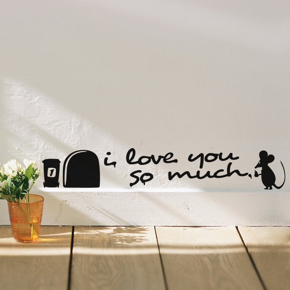 I love you so much 3d funny mouse hole wall stickers decals living i love you so much 3d funny mouse hole wall stickers decals living room bedroom wall art wallpaper mural wedding decoration in underwear from mother kids amipublicfo Choice Image