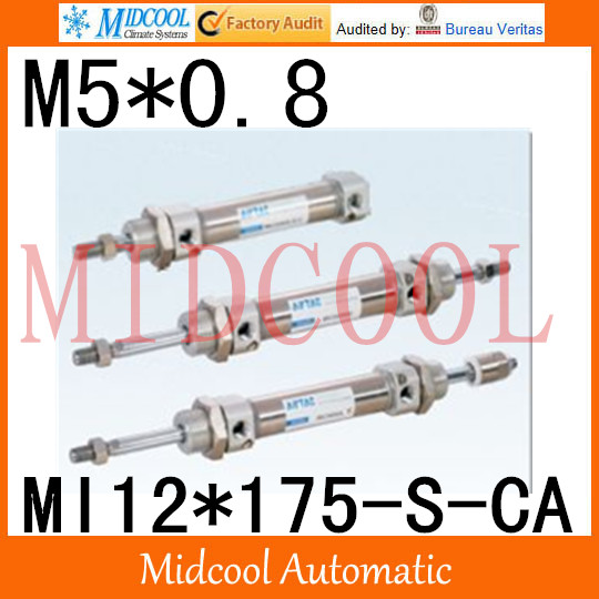 MI Series ISO6432 Stainless Steel Mini Cylinder MI12*175-S-CA bore 12mm port M5*0.8 mi series iso6432 stainless steel mini cylinder mi10 200 s ca bore 10mm port m5 0 8
