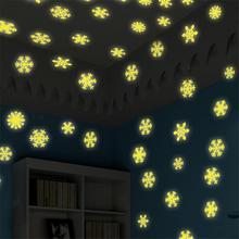 50PCS/Set 3CM DIY Snowflake Pattern Acrylic Luminous Sticker Wall Sticker For Home Decoration