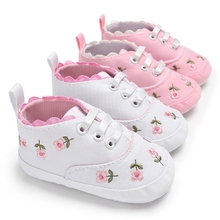 Baby Girls Shoes Kid Shoes Lace Floral Embroidery First Walker Toddler Lace-Up Sneakers letter embroidery lace up tee