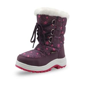 Image 2 - Apakowa/Зимние плюшевые зимние сапоги до середины икры для девочек уличные Прочные ботинки принцессы на молнии для маленьких детей, нескользящая обувь, снегоступы детские, зимние сапоги для девочек, ботинки детские