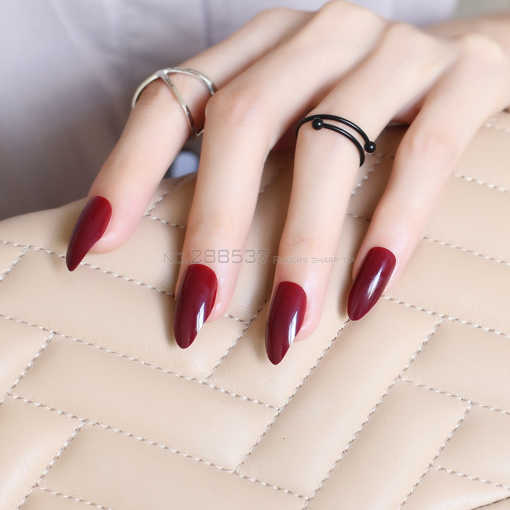 120pcs New fashion Burgund mountain peak personality Designs False nails  Full Nail Tips Girls decorating Artificial nails JD14 - Pointed Nail Design Promotion-Shop For Promotional Pointed Nail