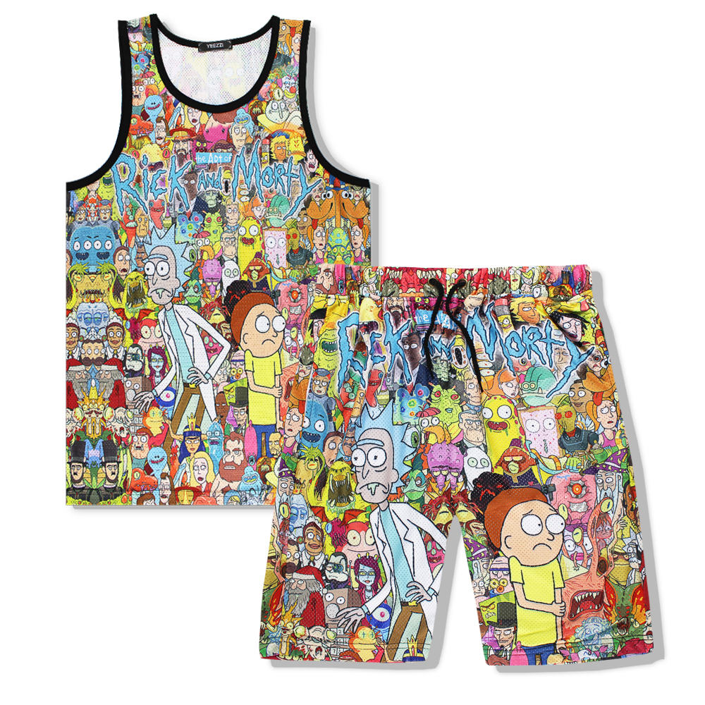 summer New Fashion Men Brand Vest Hot animation Cartoon Funny rick and morty 3d print Breathable Fitness Jersey Vest+shorts Suit ...