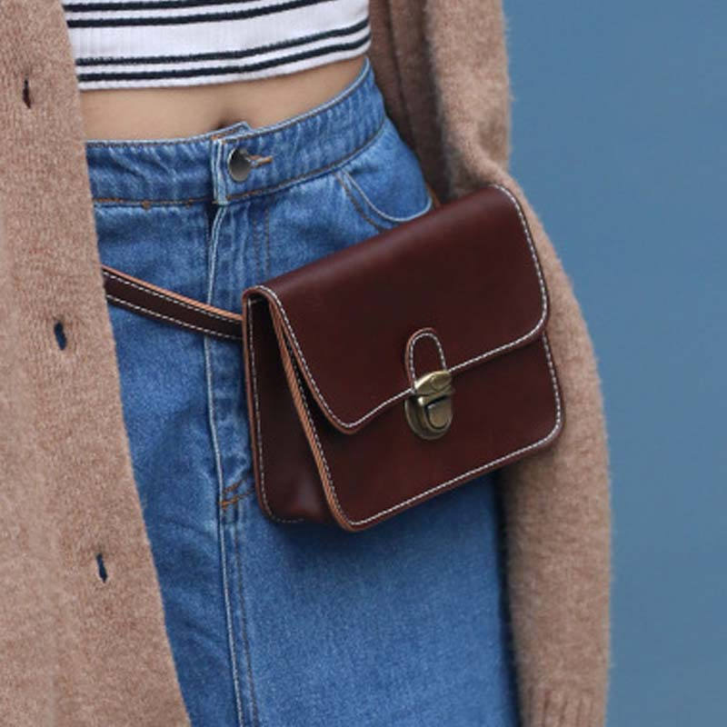 NIBESSER Waist Bag Women Waist Fanny Pack Vintage Bags Luxury Brand Fashion Leather Chest Belt Bag Brown Black 2018 Mini Handbag belt bag women waist bag white waist fanny pack luxury brand leather chest handbag lady s belt bags 2018 shoulder bags purse