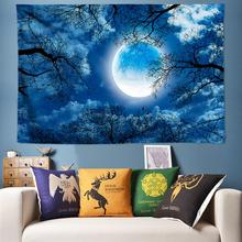 Moon Tapestry Wall Hanging Starry Night Forest Hippie Psychedelic Farmhouse Art Decor Boho Mandala Tenture Tapisserie