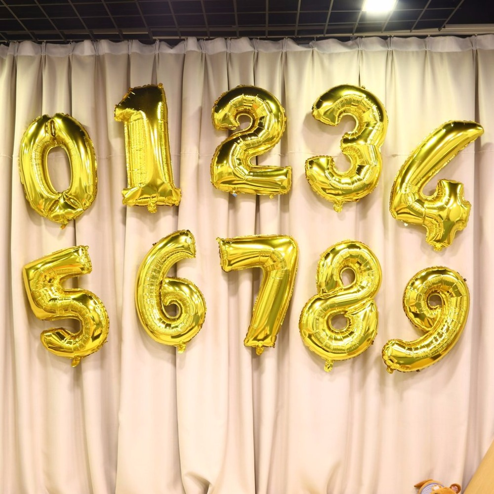 Digit Balloons 30 Inch Foil Mylar Gold for Wall Decoration Wedding ...