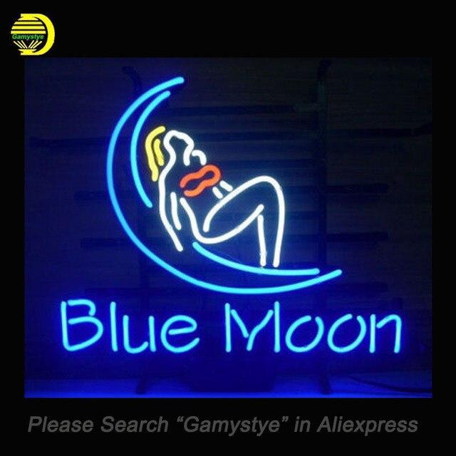BLUE MOON Neon Sign Girl Glass Tube Cool Neon Bulbs Custom