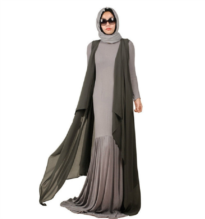 Buy Fashion Flared Linen Muslim Dress Abaya In Dubai Islamic Clothing For Women
