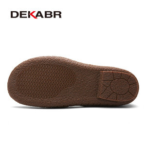 Image 4 - DEKABR scarpe da spiaggia estive di marca 2021 designer di moda sandali da uomo pantofole in pelle crosta per uomo Slip On scarpe Casual uomo