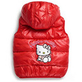 The new 4 color cotton vest children cartoon Hello Kitty girl Hooded Vest coat female baby warm lovely vest kids clothes