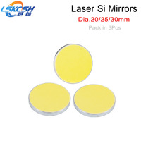 LSKCSH 3pcs/lot Si Mirror Dia. 20 25 30mm Gold Plated Silicon for CO2 Laser Engraving Cutting Machine Wholesale Free Shipping