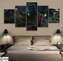 Hot Sales Without Frame 5Panels Picture Fairy Forest Girl Canvas Print Painting Artwork Wall Art Wholesale