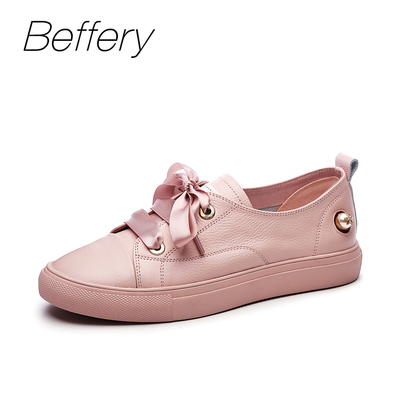 Beffery 2018 Spring Summer Women Shoes Genuine leather Sneakers Fashion Pearl Lace-up Casual Shoes Women Comfortable Flat Shoes beffery 2018 new fashion sneakers women genuine leather lace up flat platform shoes for women fashion star casual shoes a1md701