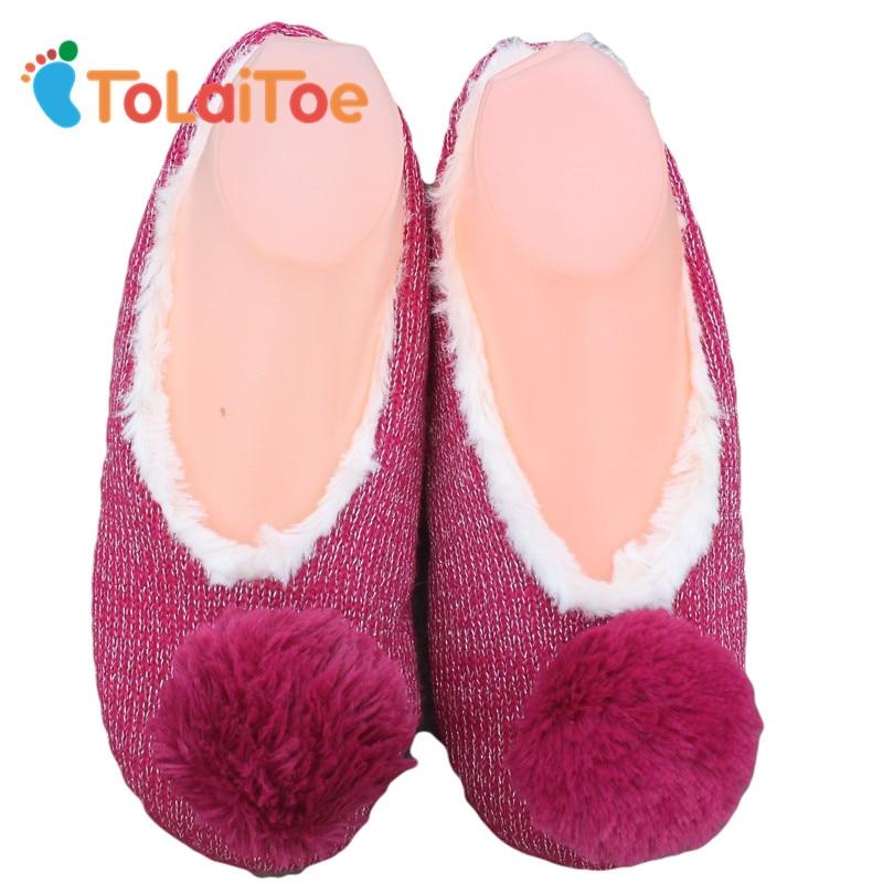 ToLaiToe New Winter Warm Home Women Slipper Cotton Shoes Plush Female Floor Shoe Bow-knot Fleece Indoor Shoes Woman Home Slipper цена