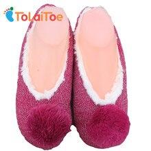 Top Soft Bottom Kötés Ballet Shoes női padló Furry Ball Papucsok Fa padló Pamut-párnázott nadrág Női Slip On Shoes
