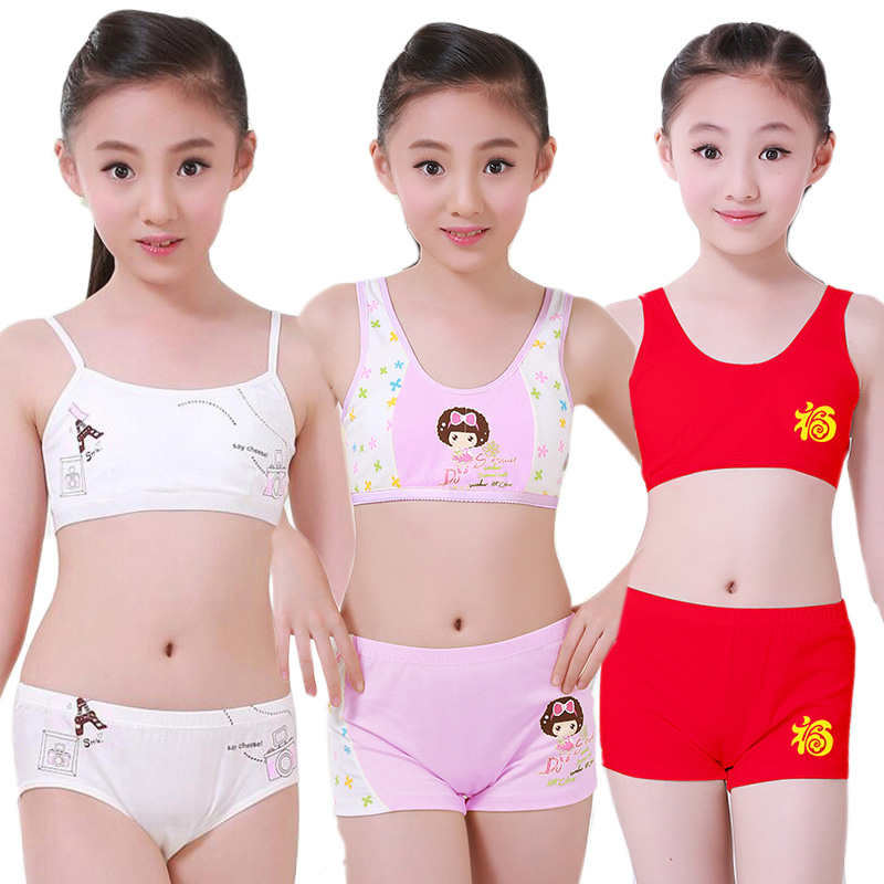 112b0c00964 Κορίτσια   ρούχα Puberty Young Girls Cosy Undies Children Clothing Teenagers  Cotton Underwear Set Training Bras Camisole Vest Top + Panties Boxer