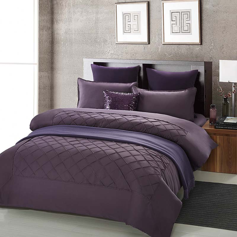 Egyptian cotton luxurious Deep purple bedding sets 4pcs ...