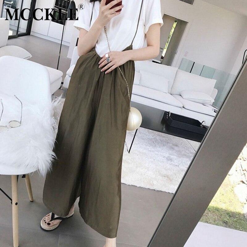MCCKLE Women Overalls Wide Leg Pants Jumpsuits Vocation Dungarees Casual Cotton Linen Long Trousers 2018 Plus Size S 5XL Rompers