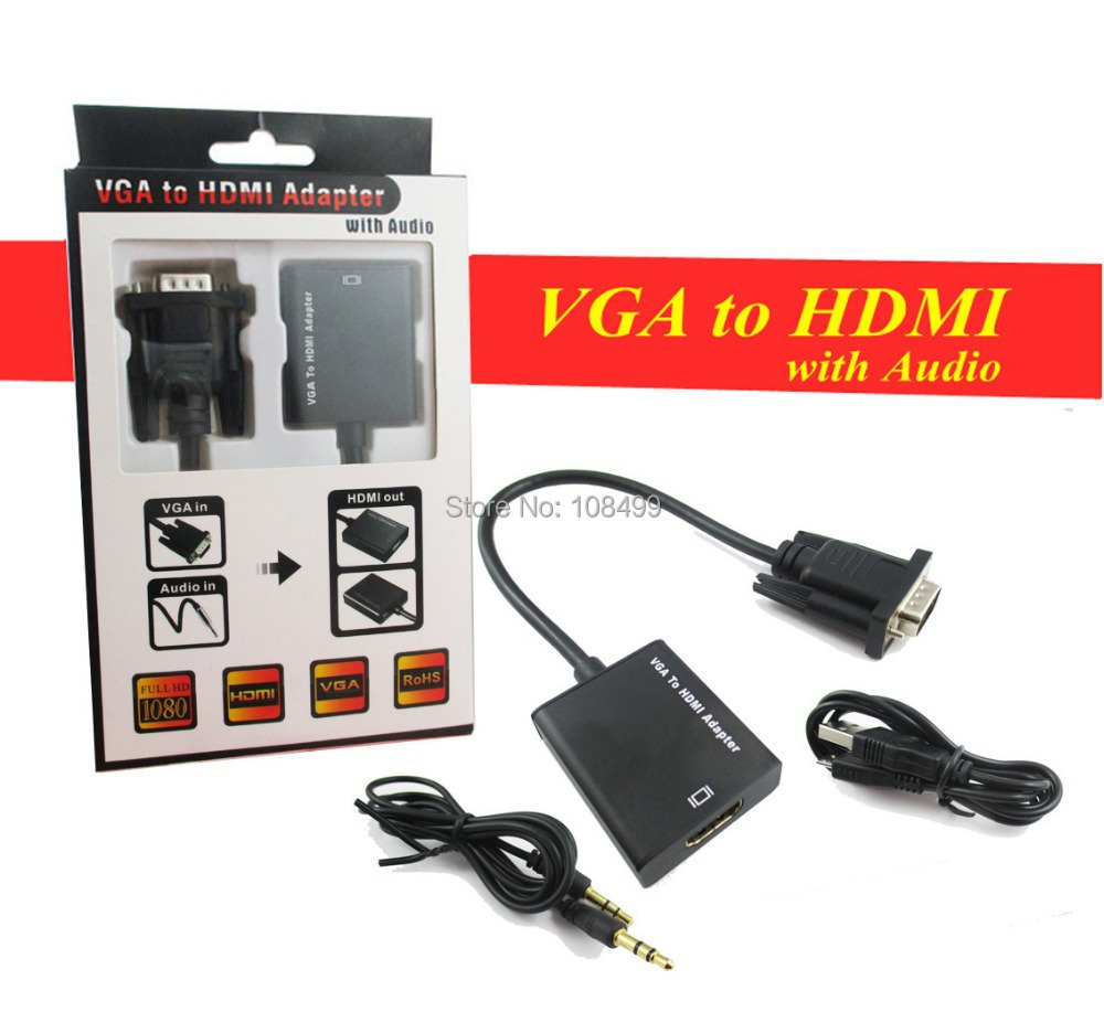 1080P VGA Male To HDMI  HD+Audio TV AV HDTV Video Cable Converter Adapter hi