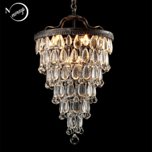 レトロヴィンテージクーパークリスタル滴 E14 LED シャンデリア/大規模なヨーロッパ帝国スタイル lustres シャンデリアリビングルーム