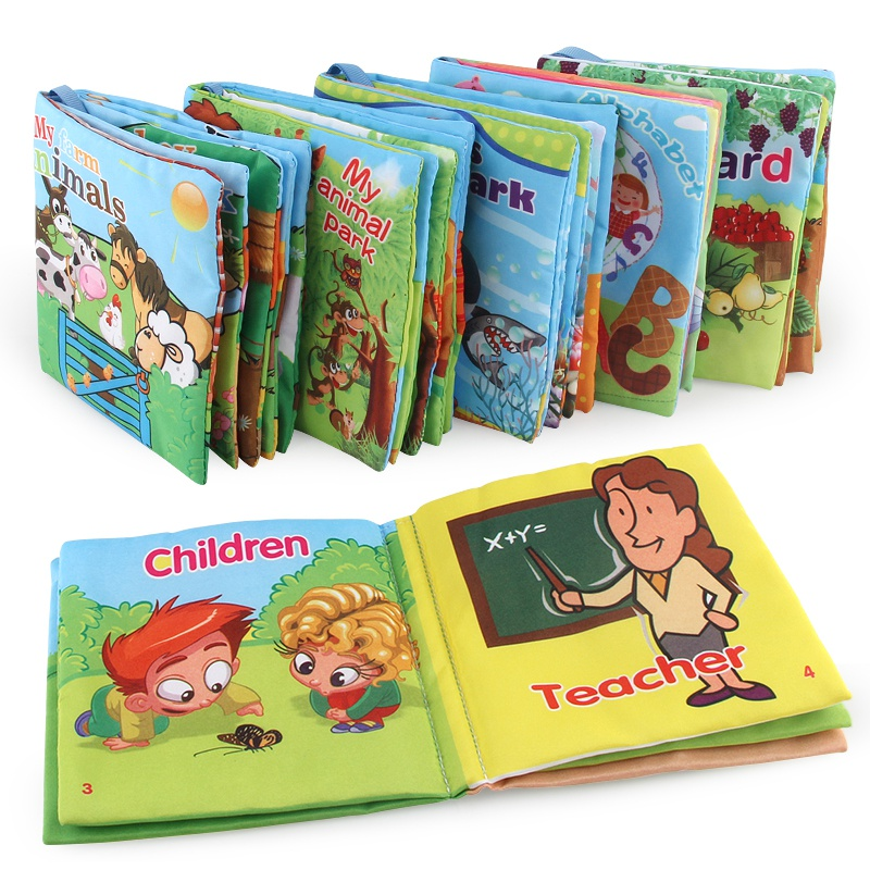 One Piece Kids Toys Soft Cloth Books Rustle Sound Infant Early  Educational Book Children Toys Newborn Crib Bed Baby Toys