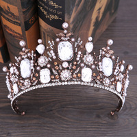 Vintage Lace Crystal Baroque Bridal Tiaras Crowns Headpiece For Women Pearls Wedding Bride Hair Jewelry Accessories Hairbands