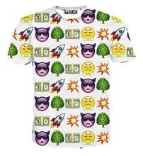 New Fashion men 3d t-shirt Brand t-shirt funny print bomb/tree/dollars emoji t shirt short sleeve summer tops tees white