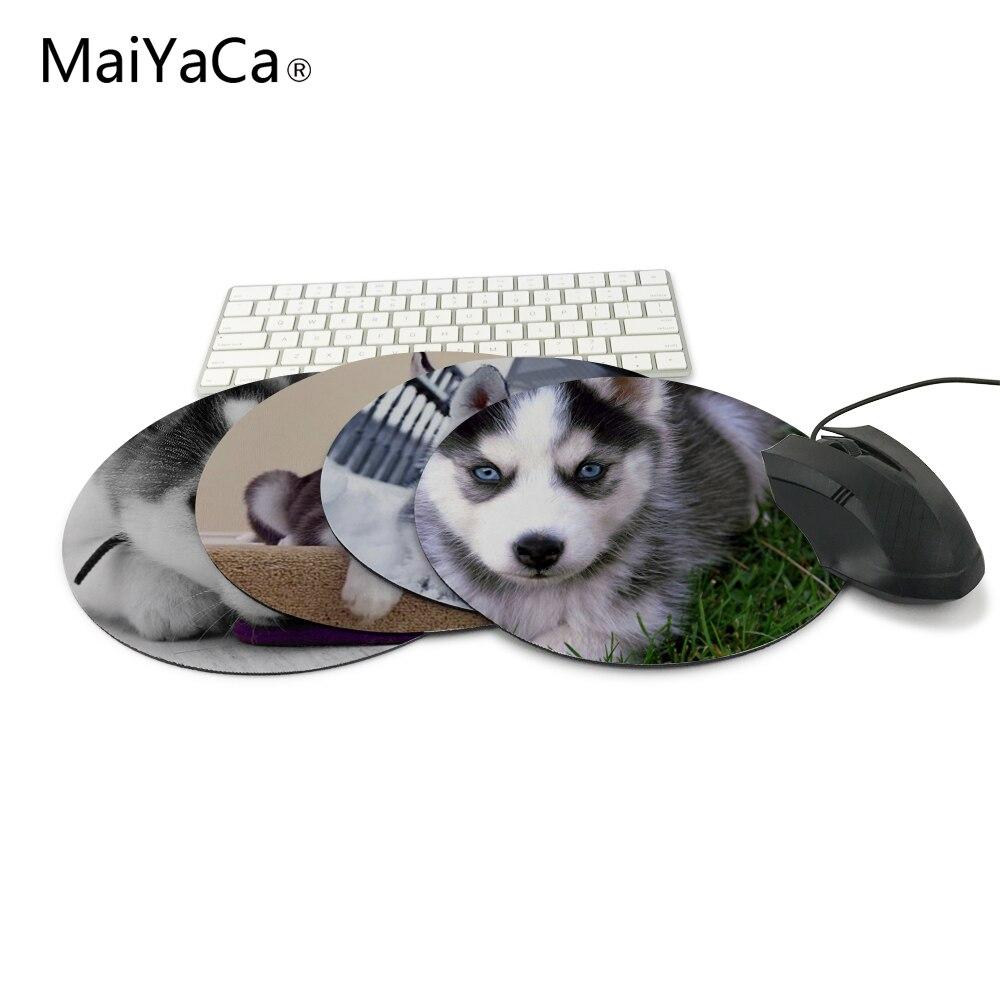 MaiYaCa חמוד האסקי גור גורמת דפוס עכבר לוח בגודל קטן עגול משחקים Non- החלקה גומי Pad