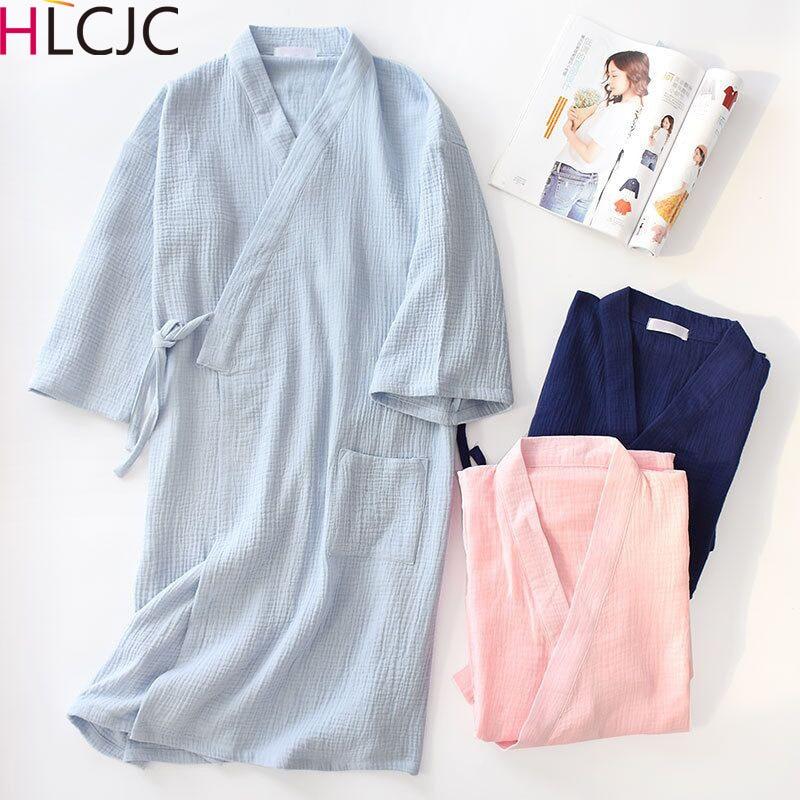 Couple Spring Summer Robe 100% Cotton Gauze Solid Loose Comfortable Male Kimono Robes Men Women Home Clothing Nightly Bathrobes