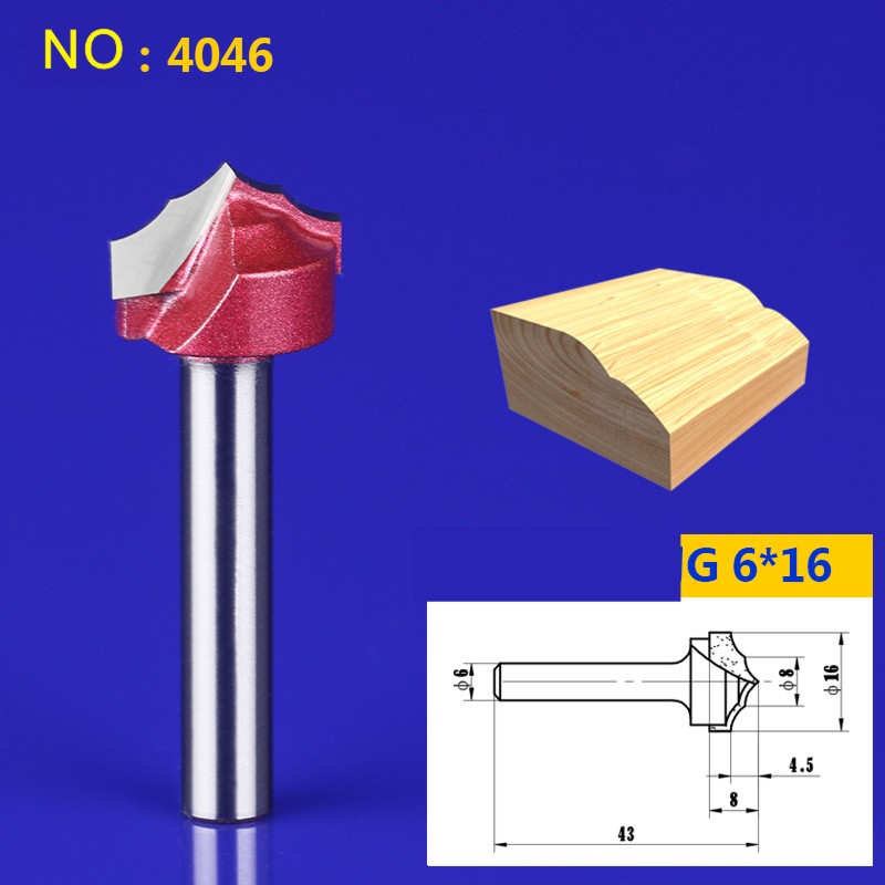 1pcs 6*16mm Chest/Door Engraving Machine Milling Knife,Wood Cutter Router Bit Knives 3D Lace Woodworking milling cutter NO:4046 1 2 5 8 round nose bit for wood slotting milling cutters woodworking router bits