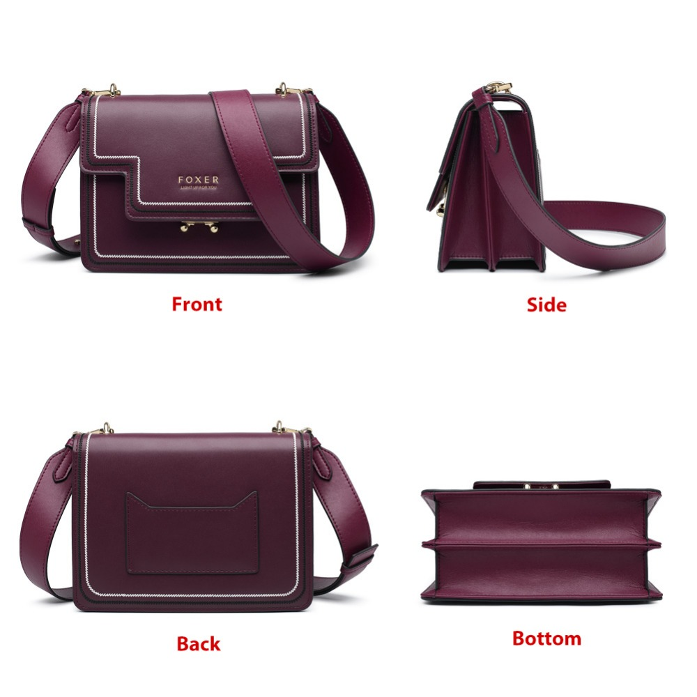 FOXER Brand Split Leather Stylish Women Shoulder Bags Female Large Capacity Luxury Soft Messenger Bags Valentine's Day Gift 1