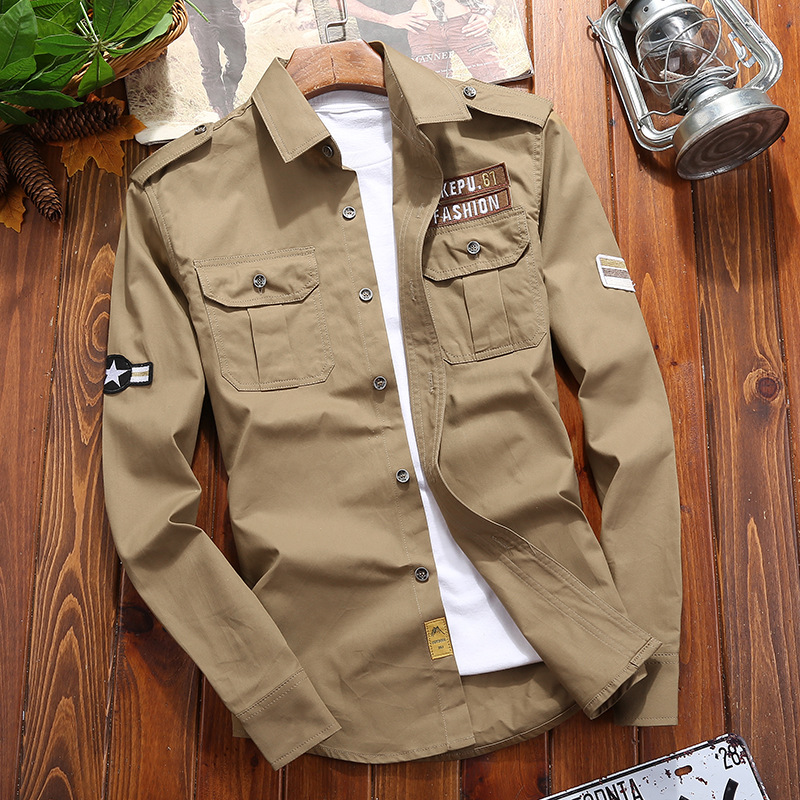 WBDDT Men's Shirts Cotton Military Shirt Khaki Casual Slim Fit With Pocket Long Sleeve Vintage Jacket Streetwear Drop Shipping