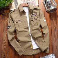 WBDDT Men's Shirts Cotton Military Shirt Khaki Casual Slim Fit with Pocket Long Sleeve Vintage Jacket Streetwear Drop Shipping