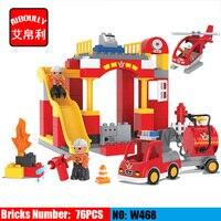 76 SZTUK Dużych Bloków Miasta Ogień dział Pożarowe Bloki ustawione Dzieci Bricks DIY Kreatywne Zabawki dla Dzieci Kompatybilny Duploe