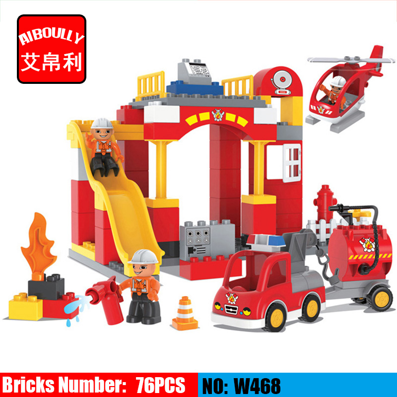 76PCS Big Blocks City Fire department Firemen Building Blocks set Kids DIY Bricks Creative Toys for Children Compatible Duploe gorock 109pcs big blocks city fire department firemen building blocks set kids diy bricks creative toys compatible with duploe