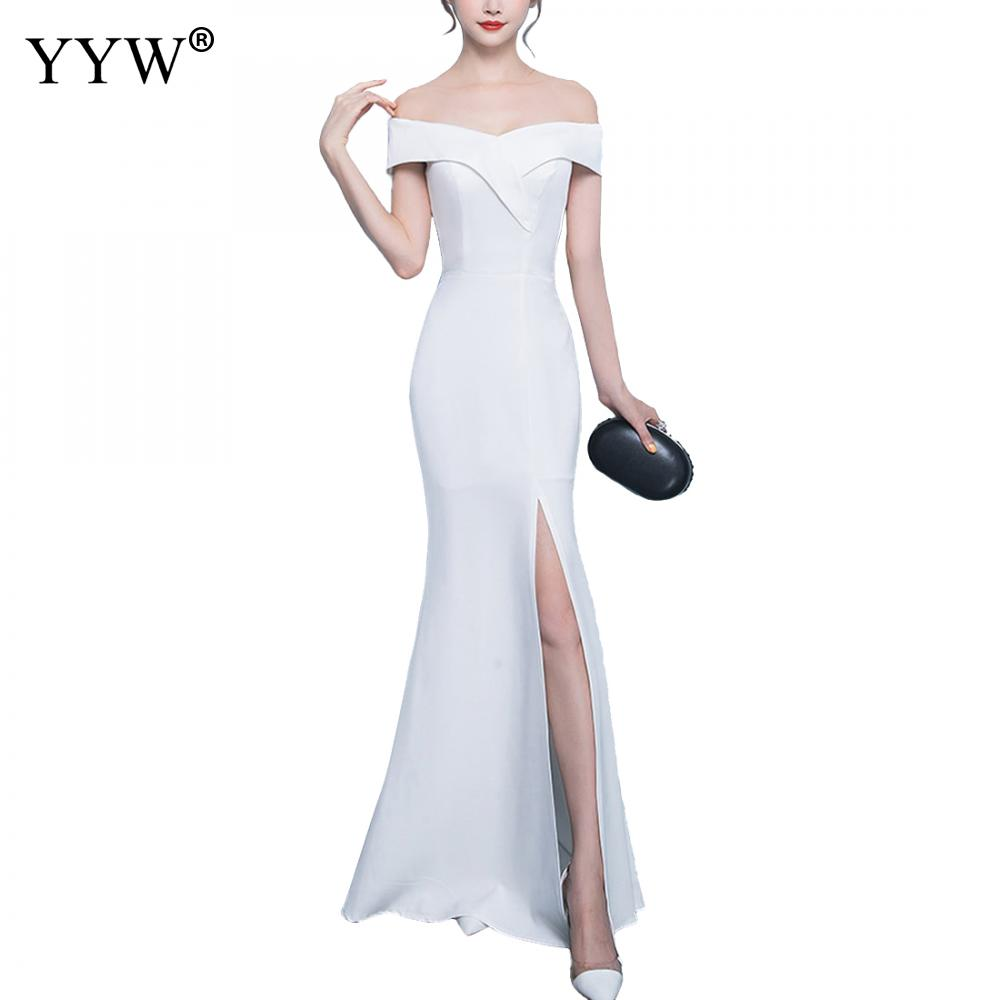 Off Shoulder Evening Dress Girls Wedding Party Dress Prom Gown Long Zipper Sexy Robe De Soiree Side Slit Elegant Club Vestidos