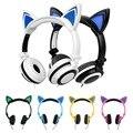 Led cable del auricular lindo del oído de gato grande gaming luminoso auriculares auriculares con micrófono para iphone samsung teléfono de la computadora headfone niñas