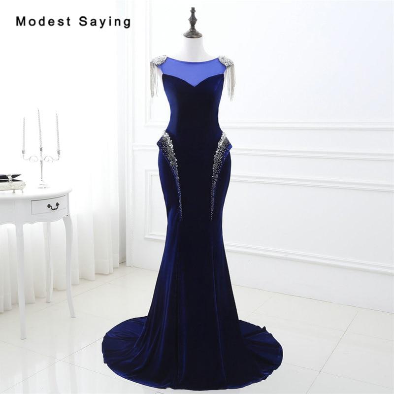 Glamorours Mermaid Tassel Shoulder Blue Velvet Beaded Evening Dress 2017  with Rhinestone Formal Engagement Long Party 42f264a71b1e