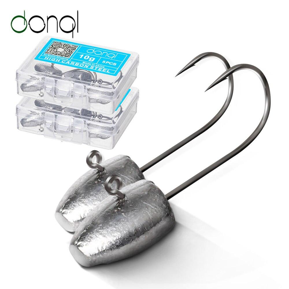 DONQL 5 pièces/ensemble crochets de pêche tête de gabarit hameçon simple barbelé pour leurre de ver souple 3g 5g 7g 10g carpe tête de plomb crochets accessoires