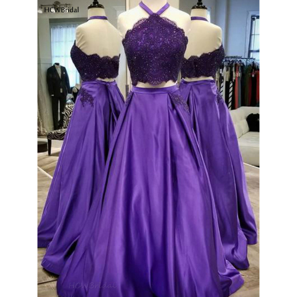 Robe De Soiree Purple 2 Piece Prom Dresses Halter A Line Backless Satin Lace Evening Gowns Custom Made 2019 Wedding Party Dress