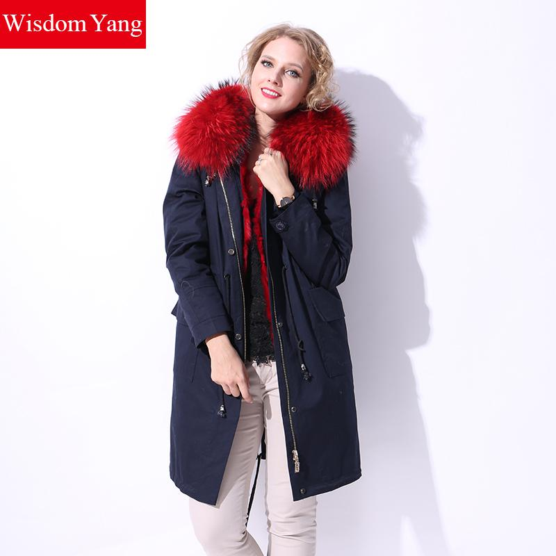 Wisdom Yang Women's Winter Long Parkas Navy Blue Raccoon Dog Hooded Red Rabbit Fur Liner Drawstring Overcoats 2017 Plus Size 5xl