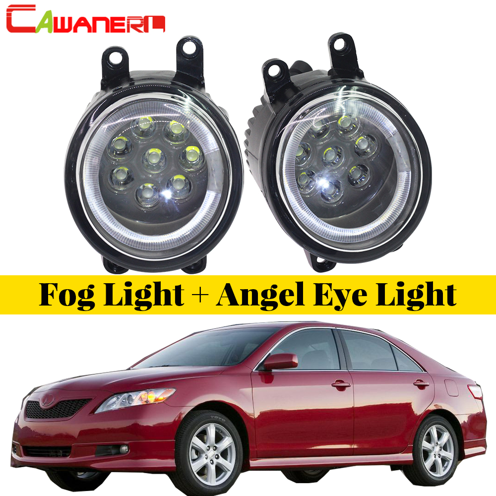 Cawanerl 2 X Car LED Lamp External Fog Light Angel Eye Daytime Running Light DRL 12V Accessories For 2007-2012 Toyota Camry car styling 2011 2014 for toyota camry led daytime running light fog light high quality camry led drl
