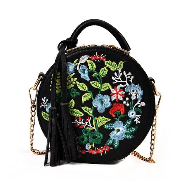 610e609b953e HCH Women S Retro Embroidery Flowers Handbag PU Leather Tassel Shoulder Bag  For Ladies Evening Round